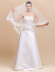 One Layer Chapel Wedding Veil With Lace Applique Edge
