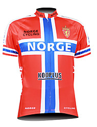 Kooplus 2015 Men's Cycling Jersey Norge Pattern 100% Polyester Short Sleeve Breathable