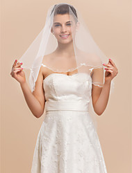 One-tier Tulle With Rhinestones Elbow Veil With Pencil / Scalloped Edge