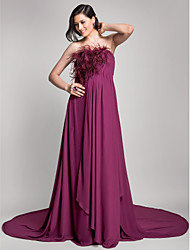 TS Couture Plus Size Formal Evening Dress - Open Back A-line Strapless Court Train Chiffon with Draping Feathers / Fur