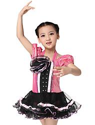Desempenho dancewear poliéster com flor Latina Vestido Dança para Crianças