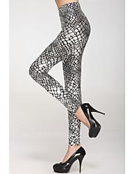 Metallic échelle veines Argent Legging (Taille: 58-79cm, hanche: 90-104cm, Longueur: 95cm)