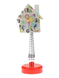 "4"" Flower House Style Spring Base Analog Alarm Clock (1xAA)"