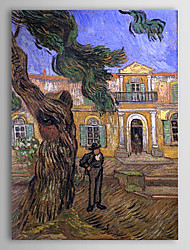 Famous Oil Painting Pine Trees with Figure in the Garden of Saint Paul Hospital by Van Gogh