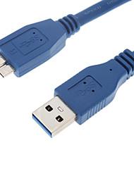 USB 3.0 AM au MINI 10P Câble rond Homme (1 m, bleu)