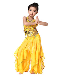 Dancewear Chiffon with Coins and Small Bells Belly Dance Outfit Top and Bottom For Children