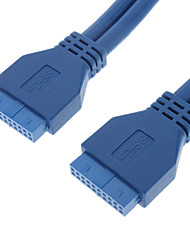 USB3.0 20P F/F Round Cable (0.5 m, Blue)