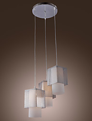 60W Pendant Light with 3 Lights in Cubic Metal Lampshade