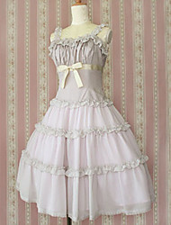 One-Piece/Dress Classic/Traditional Lolita Princess Cosplay Lolita Dress Solid Sleeveless Medium Length Dress For Cotton