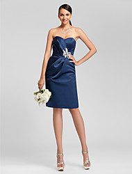 Lanting Bride Knee-length Satin Bridesmaid Dress Sheath / Column Strapless / Sweetheart Plus Size / Petite withBeading / Sash / Ribbon /