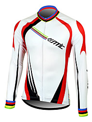 Santic Men's Cycling Jersey Long Sleeve 100% Polyester Fiber Long Sleeve Breathable+Quick-Drying