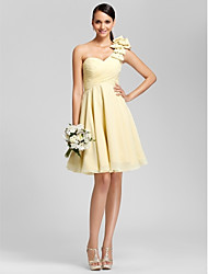 Lanting Knee-length Chiffon Bridesmaid Dress - Daffodil Plus Sizes / Petite A-line / Princess One Shoulder / Sweetheart