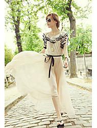 MLTS Круглый рюшами рукава Пояс большие качели шифоновое платье