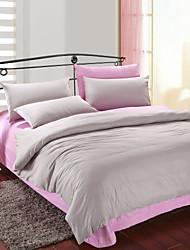 4 peças cinza e rosa algodão edredão conjunto de capa de impressão