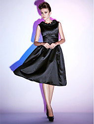 TS Couture Cocktail Party Holiday Dress - Little Black Dress A-line Princess Scoop Knee-length Satin with Ruffles Ruching