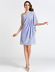 Cocktail Party / Wedding Party Dress - Short Plus Size / Petite Sheath / Column One Shoulder Knee-length Chiffon withSide Draping /