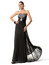 Formal Evening/Military Ball Dress - Black Plus Sizes Sheath/Column Sweetheart/Strapless Floor-length Chiffon