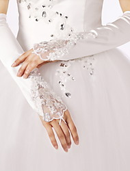 Elbow Length Fingerless Glove Satin Lace Bridal Gloves Party/ Evening Gloves Spring Fall Winter Rhinestone