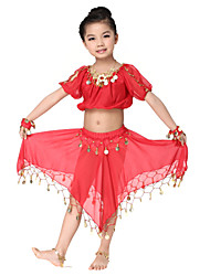 Performance Dancewear Charming Chiffon with Coins Belly Dance Outfit Top and Skirt For Children