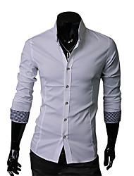 Men's Solid Casual Shirt,Cotton Long Sleeve Black / Blue / White