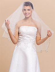 1 Layer Elbow Wedding Bridal Veil With Beaded Edge