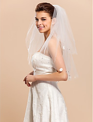 2 Layer Beautiful Elbow Wedding Veil With Cut Edge