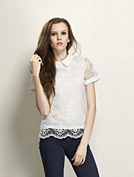Women's Lace Black/White Blouse/Shirt Short Sleeve Lace
