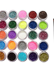 25 Kleuren Glitter Poeder Nail Art Decorations met een borstel