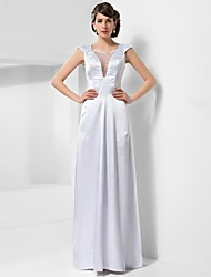 Formal Evening/Military Ball Dress - White Plus Sizes Sheath/Column Scoop Floor-length Stretch Satin