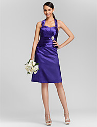 Knee-length Stretch Satin Bridesmaid Dress - Plus Size / Petite Sheath/Column Sweetheart / Straps