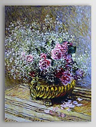 Famous Oil Painting Flowers in a Pot (also known as Roses and Baby's Breath) by Claude Monet