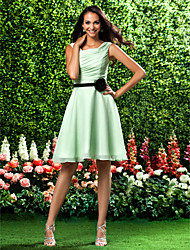 Lanting Knee-length Chiffon Bridesmaid Dress - Sage Plus Sizes / Petite A-line / Princess Square