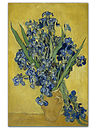 Vase of Irises Against a Yellow Background, c.1890 by Vincent Van Gogh Famous Stretched Canvas Print