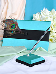 Charm Guest Book and Pen Set With Peacock Feather Sign In Book