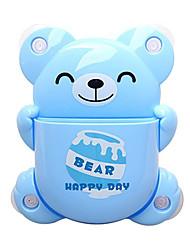 Dos desenhos animados Padrão Urso porta-escovas com ventosa (cor aleatória)