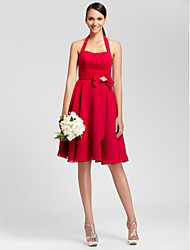 Lanting Knee-length Chiffon Bridesmaid Dress - Ruby Plus Sizes / Petite A-line / Princess Halter