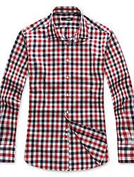 Uomo Cotone Colore Contrasto Controllare Camicia a maniche lunghe
