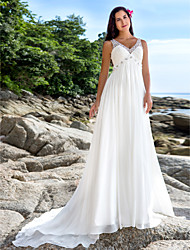 Lan Ting Sheath/Column Plus Sizes Wedding Dress - Ivory Chapel Train V-neck Chiffon