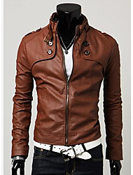 Men's Stand Collar PU Leather Motorcycle Coat