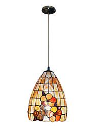 80W classique Tiffany lumière pendante avec la nature Matériel de Shell Integrated Shade Down in modèle de flore