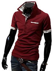 Col Chemise à carreaux Polo T-shirt manches courtes Homme