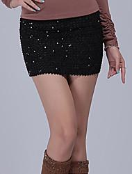 Elasticidad lentejuelas Minifalda Oro (cintura: los 58-79cm Cadera: los 90-104 Longitud: los 56cm)