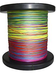 500M / 550 Yards Linha Traçada PE / Dyneema Linhas de Pesca Verde / Laranja / Amarelo / Roxo / Fúcsia / Vermelho / Azul / Cores Sortidas