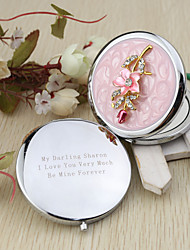 Personalized Pink Flower Chrome Compact Mirror Favor With Rhinestone