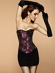 Satin Polyester Swirly Floral Brocade Corset Sexy Lingerie Shaper