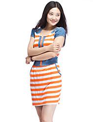 Women's Dress Above Knee Short Sleeve Blue / Orange Summer
