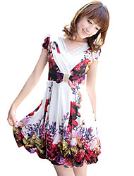 Women's Floral Bow Wrap Dress