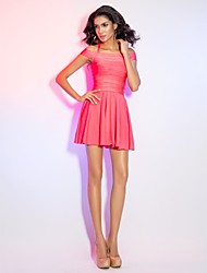 Cocktail Party / Holiday Dress - Watermelon Petite A-line Halter / Off-the-shoulder Short/Mini Rayon