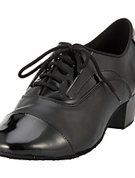 Non Customizable Men's Dance Shoes Modern/Ballroom Leather Low Heel Black