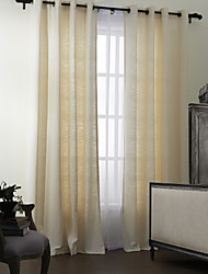 (Two Panels) Modern Polyester Cotton Blend Solid Eco-friendly Curtain Set